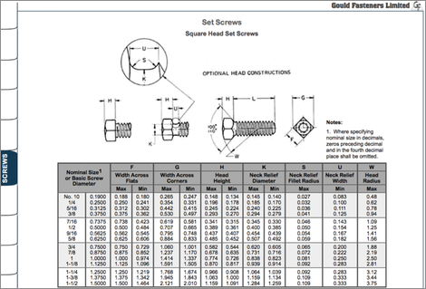 Set Screws Table Image